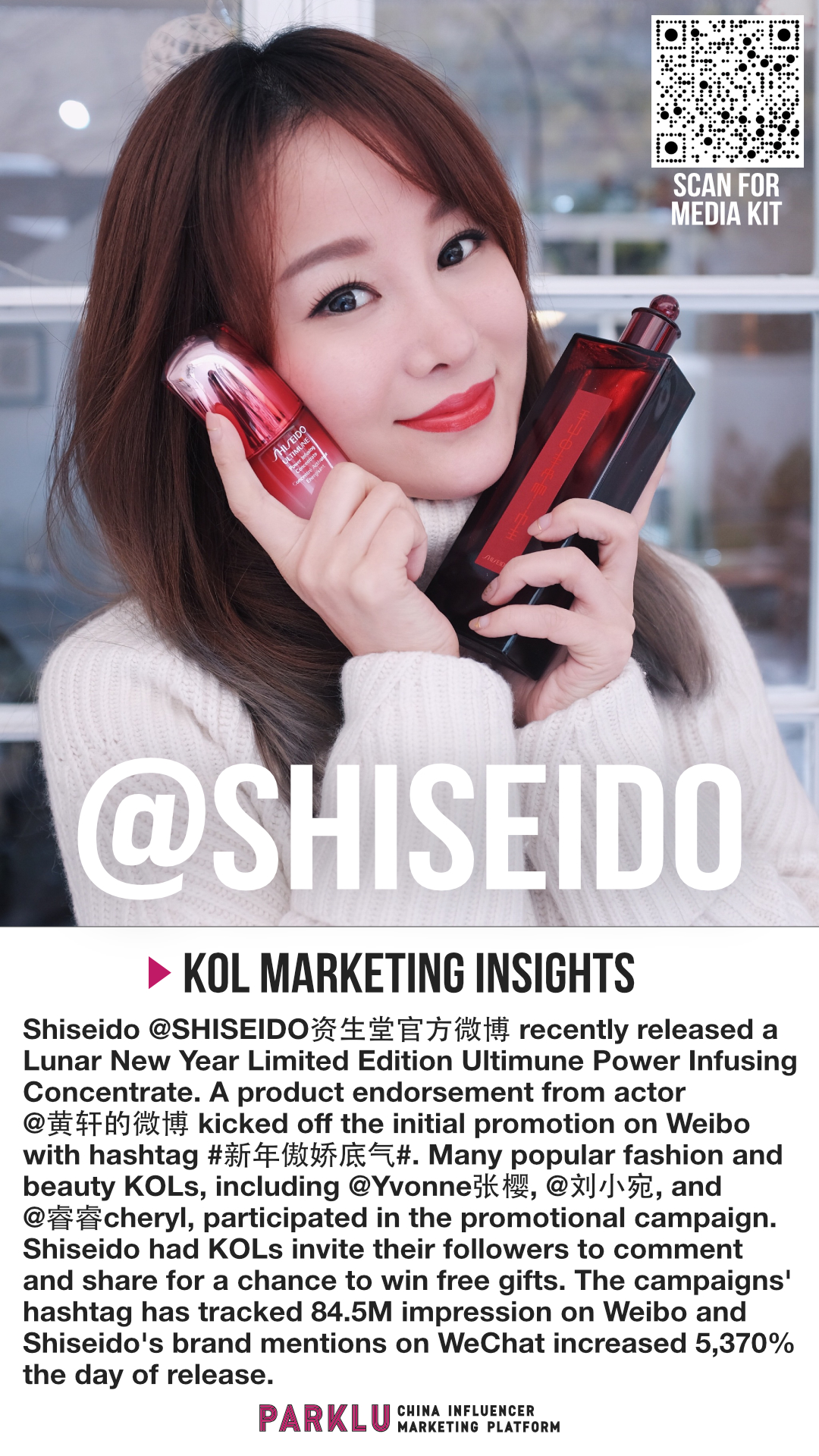 Shiseido China Actor Product Endorsement and KOL Promotions