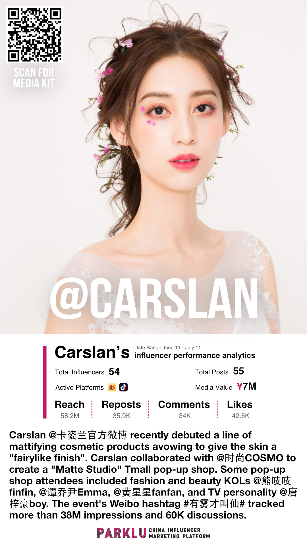 Carslan (卡姿兰) Debuted Mattifying Cosmetics with Beauty KOLs