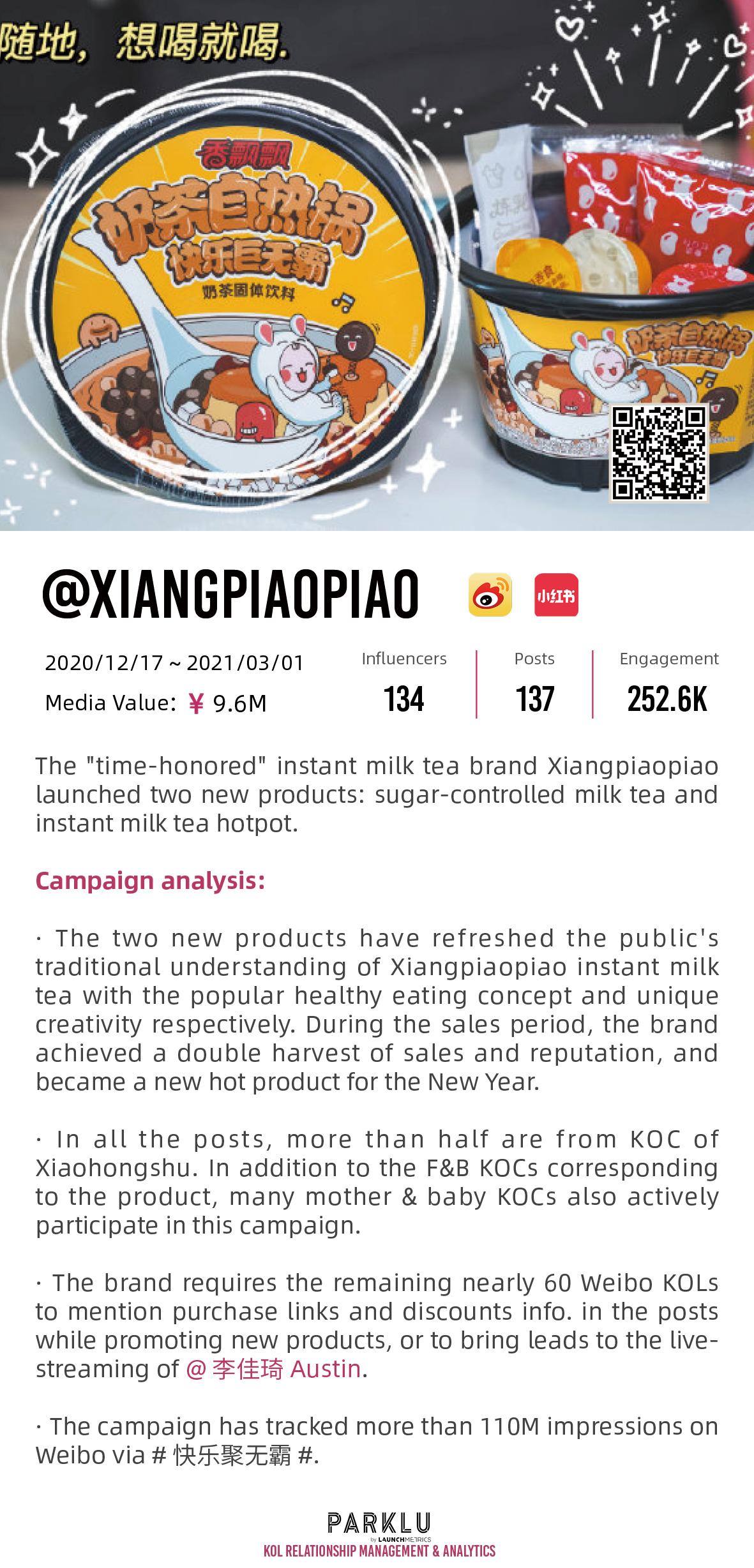 Xiangpiaopiao instant milk tea hotpot